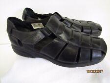 EUC Bass Men's Black Leather Fisherman Sandals Shoes Weave Pattern Size 10.5M