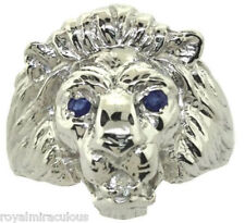 Mens Ring Lion Head Diamond & Sapphire  Sterling Silver or Gold Plated Silver