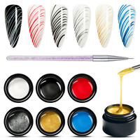 MEET ACROSS 7X/Set Spider UV Gel Polish Nail Art Liner Drawing Painting UV Gel