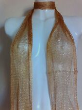 GOLD SCARF SHAWL SILK GIFT SHAWL NIGHT PARTY NEW NECK VINTAGE TOP STOLE GOLDEN
