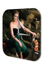 Wall Clock Pin Up Adult Art chainsaw printed acryl plexiglass
