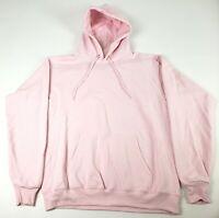 Hanes Branded Printwear Mens Pullover EcoSmart Fleece Hooded Sweatshirt Pink S