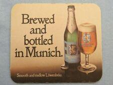 """Big 6.3"""" BEER COASTER ~ Lowenbrau ~ Smooth & Mellow ~ Bavaria Germany Brewery"""