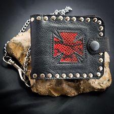 Iron Cross Snakeskin Leather Wallet Key Belt Chain Womens Men Biker feeanddave