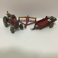 Original Dinky Toys die cast metal Massey Harris Farm Tractor #27a,  Manure Sp