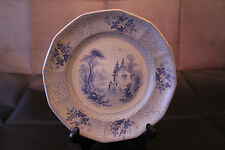 England 1850's  Blue and White Ironstone 7 3/4 Inch Plate