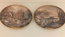Set Of 2 Currier & Ives Christmas American Winter Scenes Plate Oval #1 & 4