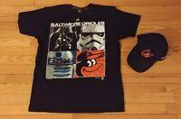 Majestic MLB Baltimore Orioles Star Wars Mens LARGE Black Tee T-Shirt BONUS HAT!