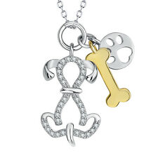925 Sterling Silver CZ Gold Dog Bone Cute Puppy Paw Print Pendant Necklace Gifts