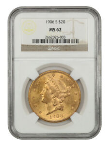 1906-S $20 NGC MS62 - Liberty Double Eagle - Gold Coin