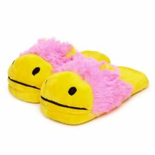 Size L PLUSH SLIPPERS PINK YELLOW NEON CLEARANCE SALE!!! (size 8-9)