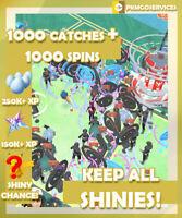 Pokemon Go 1000 Random Catches + 1000 Spins *KEEP ALL SHINY* (READ DESCRIPTION)