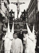 1934 Vintage 11x14 SPAIN Seville Easter Prozession Parade Costume Crucifix Art