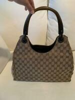 Auth Gucci Handbag Tote Bag GG Canvas Monogram USED Brown Women Purse G0610