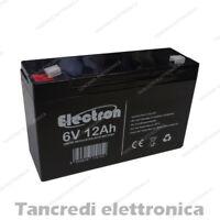 ELECTRON Batteria al piombo 6V 12Ah ad alta corrente di scarica 150A 10Ah