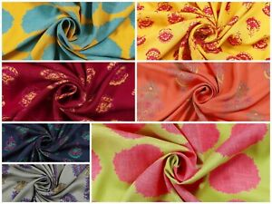 Indian Decorative Screen Printed Dress Making Rayon Fabric Craft Sewing Material