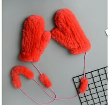 Real Red Rex Rabbit Fur Winter Warm Gloves Mittens With Hanging String