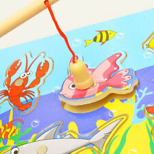 Baby Kids Wooden Magnetic Fishing Game & 3D Jigsaw Puzzle Educational Toy Gift