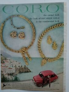 1958 Coro Milano Firenze brushed gold necklace earrings vintage jewelry ad