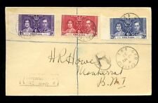 GRENADA 1937 KG6 CORONATION SET REGISTERED FDC to MONTSERRAT