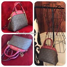 NWT MICHAEL KORS SIGNATURE EMMY SMALL DOME SATCHEL BAG IN BROWN/CHERRY (SALE!!)