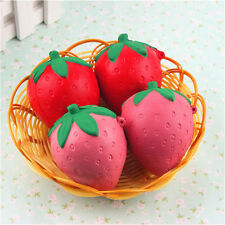 Handmade Slow Rising Squishy 8CM Pink/Red Strawberry Soft Cellphone Straps Charm