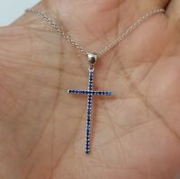 925 Sterling Silver Round Blue Sapphire Stones Cross Pendant Necklace