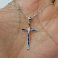 "925 Sterling Silver Round Blue Sapphire Stones Cross Pendant 18"" Chain Necklace"
