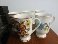 5 VINTAGE ROYAL DOMINO COLLECTION FLOWER MUGS