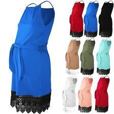Womens Maternity Key Hole Back Lace Tie Belt Strappy Cami Swing Skater Dress
