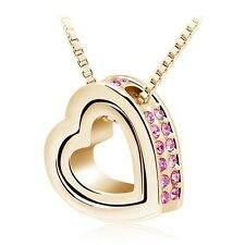 18K Gold Plated Double Love Heart Crystal Necklace Pendant Chain Fashion Jewelry