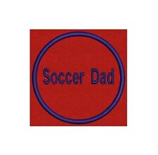 """2 Custom Embroidered Name Tag, Biker Patch, badge 3.5"""" Circle - Soccer Dad, Mum"""