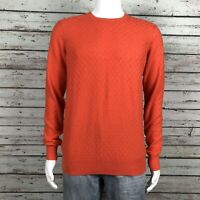 Ben Sherman Crew Neck Pullover Sweater SMALL Men's Orange Checker Board Cotton