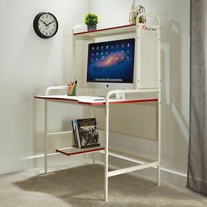 X Rocker Computer Desk Gaming Office Workstation White Metal PC Storage Shelf