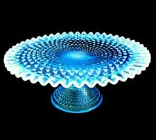 VINTAGE X-RARE FENTON BLUE HOBNAIL OPALESCENT ART GLASS CAKE FRUIT PLATE STAND