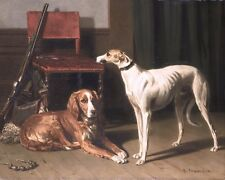 HUNTING COMPANIONS HOUND DOGS CANINE PAINTING PET DOGART REAL CANVAS PRINT