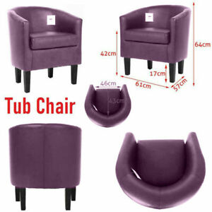 Purple Faux Leather PU Tub Chair Armchair Sofa Seat Dining Room Office Furniture