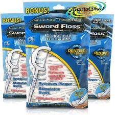 3x Dentemp Sword Floss Disposable Daily Tooth Dental Floss & Picks Regular 50 ea