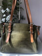 VALENTINA Green And Tan Soft Leather Tote