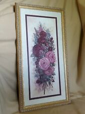 ❤SHABBY COTTAGE CHIC GLYNDA TURLEY PINK ROSE RHAPSODY FLORAL FLOWERS FRAMED ART❤