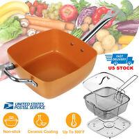 Square Copper Frying Non-stick Pan Chef Glass Lid Fry Basket Steam Rack 3pcs Set