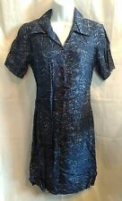 Petite Sophisticate Dark Blue Print Shirt-Dress Short Sleeve  Size 4 NWT