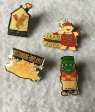 Lot of 4 Lapel Hat Pins Tie Tacks McDonalds Frankenstein Outstanding Employee