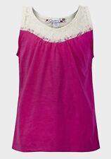 Bn Filles T-shirt rose/Top Sans Manches Détail Dentelle Âge 7-8 RIF Clothing