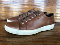 Mens Ecco Casual Fashion Sneakers Walking Shoes Size EU 43 US 10 Brown Leather