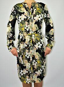 Per Una Chiffon Midi Dress Floral Black Holiday Spring Summer Size 12 AP