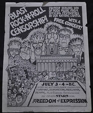 Free Concert Blast Rock n Roll Censorship Poster 17 x 23 - (1980s) ITB WH