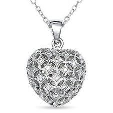 Diamond Gemstone Heart 18ct White Gold Pendant + Chain