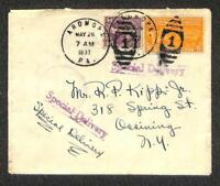 USA #720 & E16 SPECIAL DELIVERY STAMP ARDMORE PENNSYLVANIA TO NEW YORK COVER '37