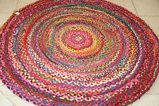 140 cm TEPPICH RUND Flickenteppich Teppich Handarbeit 100% Baumwolle BUND